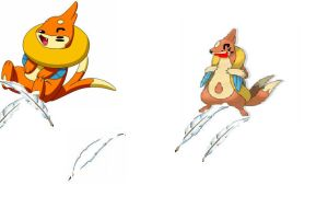 buizel and floatzel tickled by footmaster
