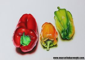 Red yellow and green peppers with drops by marcellobarenghi