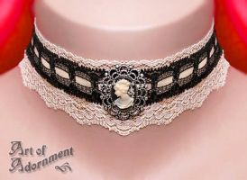 Champagne Cameo Lace Choker by ArtOfAdornment