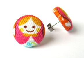 Matryoshka stud earrings babushka orange white by KooKooCraft