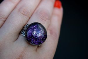 Purple Squashed Marble Ring by kelleejm1