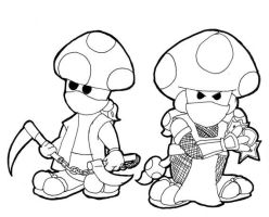 Toadstool Ninja B_W by JoffOliver