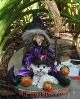 Bichon Frise Halloween by ErinsK9Collectibles