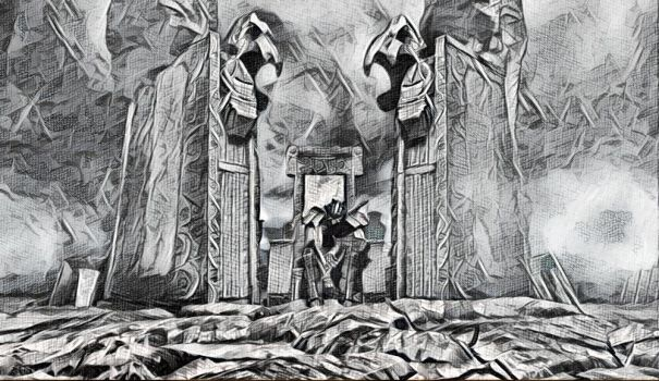 sketch: Tomb of the Warrior by Amnesiaofdarkness