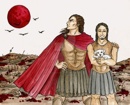 Achilles and Patroclus by LilyBotanica