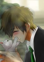 Makoto and a little cat by x-Sneering-Blaze-x