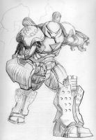Hulkbuster Iron Man pencils by TGping