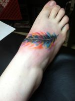 Watercolor Feather Tattoo by Kamara666
