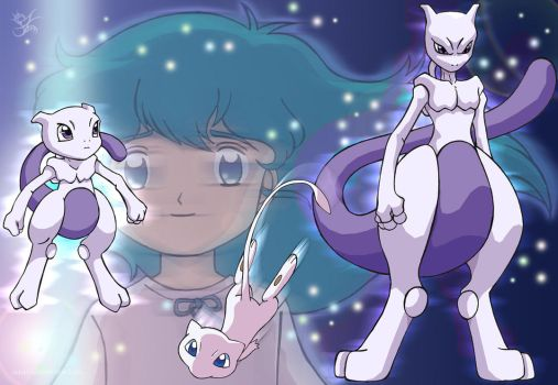 Ai and Mewtwo by Merinid-DE