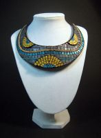 Leather mosaic necklace by julishland