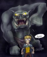 One little hobbit vs. a troll by Bilious