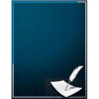 blue tradional letter feather by cgvector