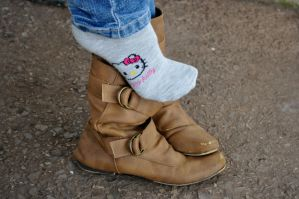Cute Sock Out Of Boot by Foxy-Feet