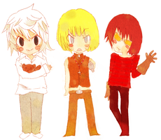 Mello, Near, and Matt by colorfullfrootloops