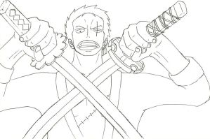 Zoro lineart by CAP7AIN-TEZZ-VII
