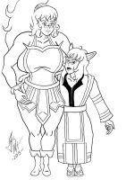Reileya and Red Wolf Commission inked by SilverBolt14