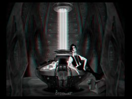 Matt Smith in the Tardis in 3D by dtdstudio