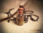 Steampunk Gears Glass Bottle Necklace by dirtym0rf