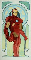 Iron Man Icon inspired by Mucha by sebtuch
