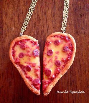 Pizza Heart Necklace! by emokitten687
