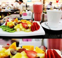 Fruit salad in express cafe Marina mall AD by amirajuli