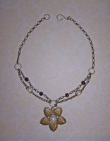 Brass flower w pearl choker by asukouenn