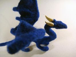 Needle felted blue dragon 2 by Projectsubvert