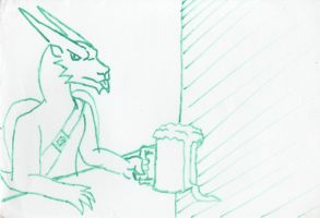 Qujin Drinking on St Patrick's Day by Poorartman