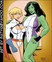 Power Girl and She-Hulk by SatyQ