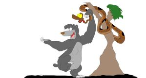Baloo and Kaa from The Jungle Book by SammyD91