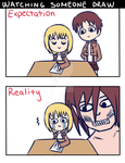 Eren and Armin: Watching Someone Draw by MizutheMage