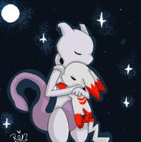 rita and mewtwo by chibi-puppy12