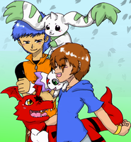 Digimon03 - Jenkato plus digimon-tachi by Cloud-Kitsune