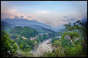 Arughat Bazar and Budhi Gandaki river by Dominion-Photography
