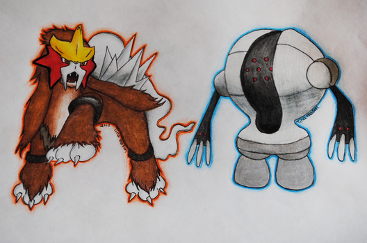 Entei and Registeel Pokemon by FallingIntoCreation