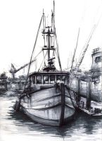 Seaport Village Fishing Boat by mighty5cent