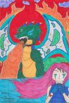 New drawing , a manga girl and dragon ?! by nickperriny7mai