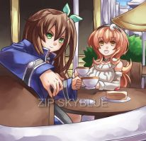TEA WITH IFFY AND COMPA by zipskyblue