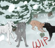 Winter Wonderland Christmas Commision WIP 2 by TheFallenWhisper