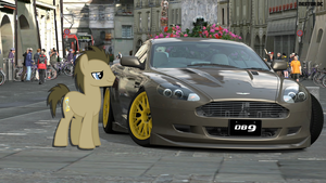 Doctor Whooves and his Aston Martin DB9 by nestordc