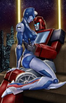 Chromia and Ironhide (morning glory on Cybertron) by DamianSSimankowicz