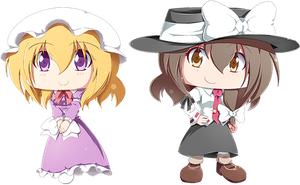 Maribel Han and Renko Usami chibi by Banzatou