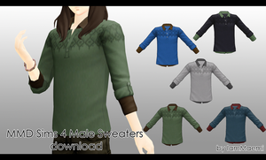 MMD Sims 4 Male Sweaters + DL by IamMaemi