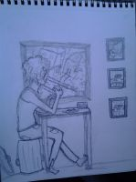 Girl sitting by the window by PlasmaGelCookie
