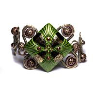 Steampunk Bracelet Green Glass by CatherinetteRings