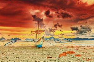 Boat at sunset by MotHaiBaPhoto