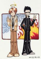 Good Omens good versus evil by woodooferret