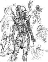Predator Huntress Sketch by AngelitaRamos