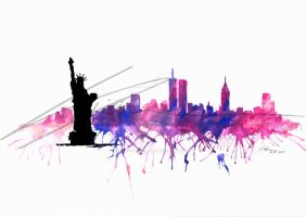 NYC watercolor skyline by Sokovikova-Art