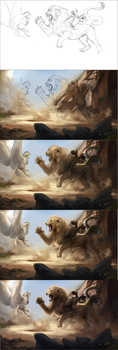 Process of 'A Dangerous Game' by AwJeez